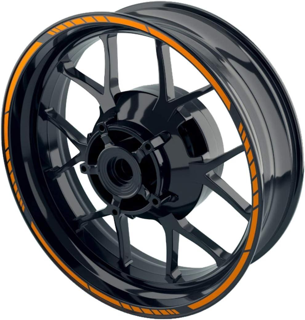 Komplett-Set 16-teilig vorne und hinten sowie beide Seiten OneWheel Felgenaufkleber f/ür Motorrad oder Auto mit 16 17 18 Zoll Felgen//Design 2 orange