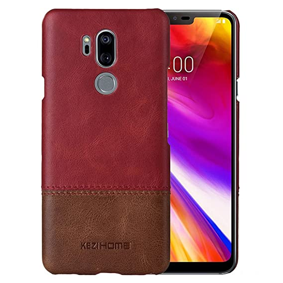 lowest price 2cf04 2e7a2 LG G7 Case/LG G7 ThinQ case,Two Colors Vintage Genuine Leather Back Cover  for LG G7 ThinQ (Red)