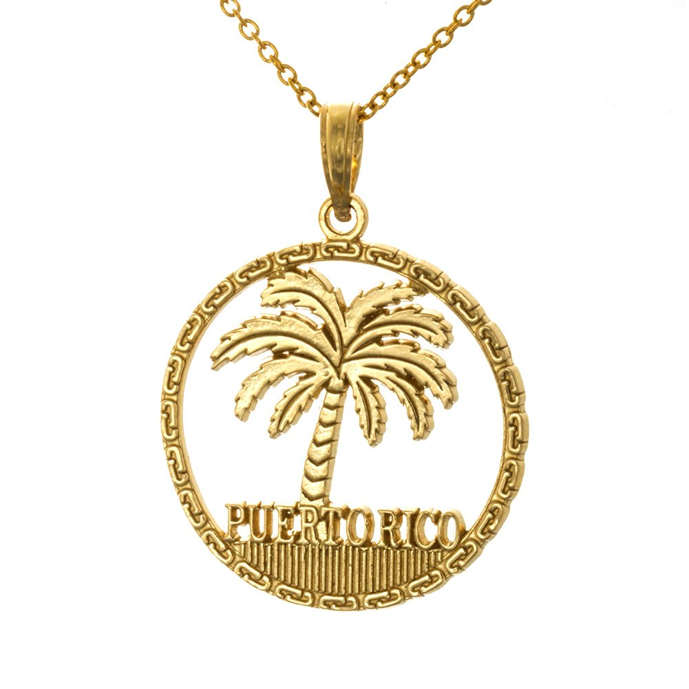 14k Yellow Gold Travel Charm Pendant with Chain, Puerto Rico Under Palm Tree, Cut-out, 21.6mm