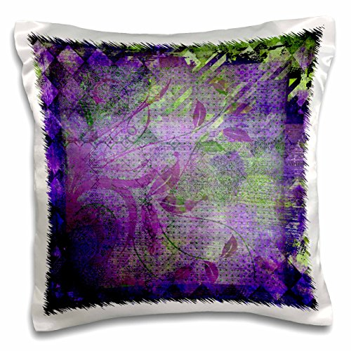 3dRose pc_220528_1 Plum Purple and Lime Green Diamond Abstract Design with Leaves-Pillow (Leaf Design Diamond)