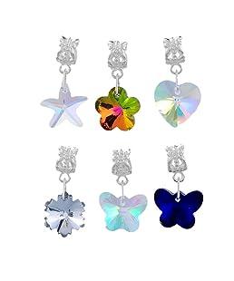 Souarts Mixte Pendentifs Breloques Européen Forme Etoile Fleur Cœur Papillon pr Bracelet Charm 6 PCS