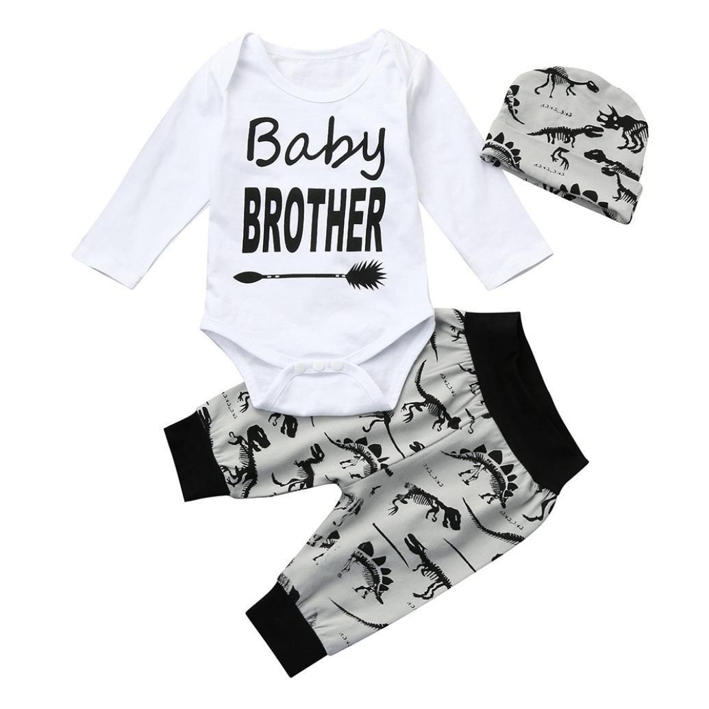 Kavitoz Newborn Infant Baby Boy Letter Romper Tops+Dinosaur Pants Hat 3pcs Clothes Set