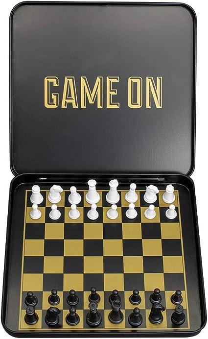 Juego de ajedrez de viaje – juego de ajedrez magnético con funda de transporte de aluminio negro y dorado: Amazon.es: Oficina y papelería