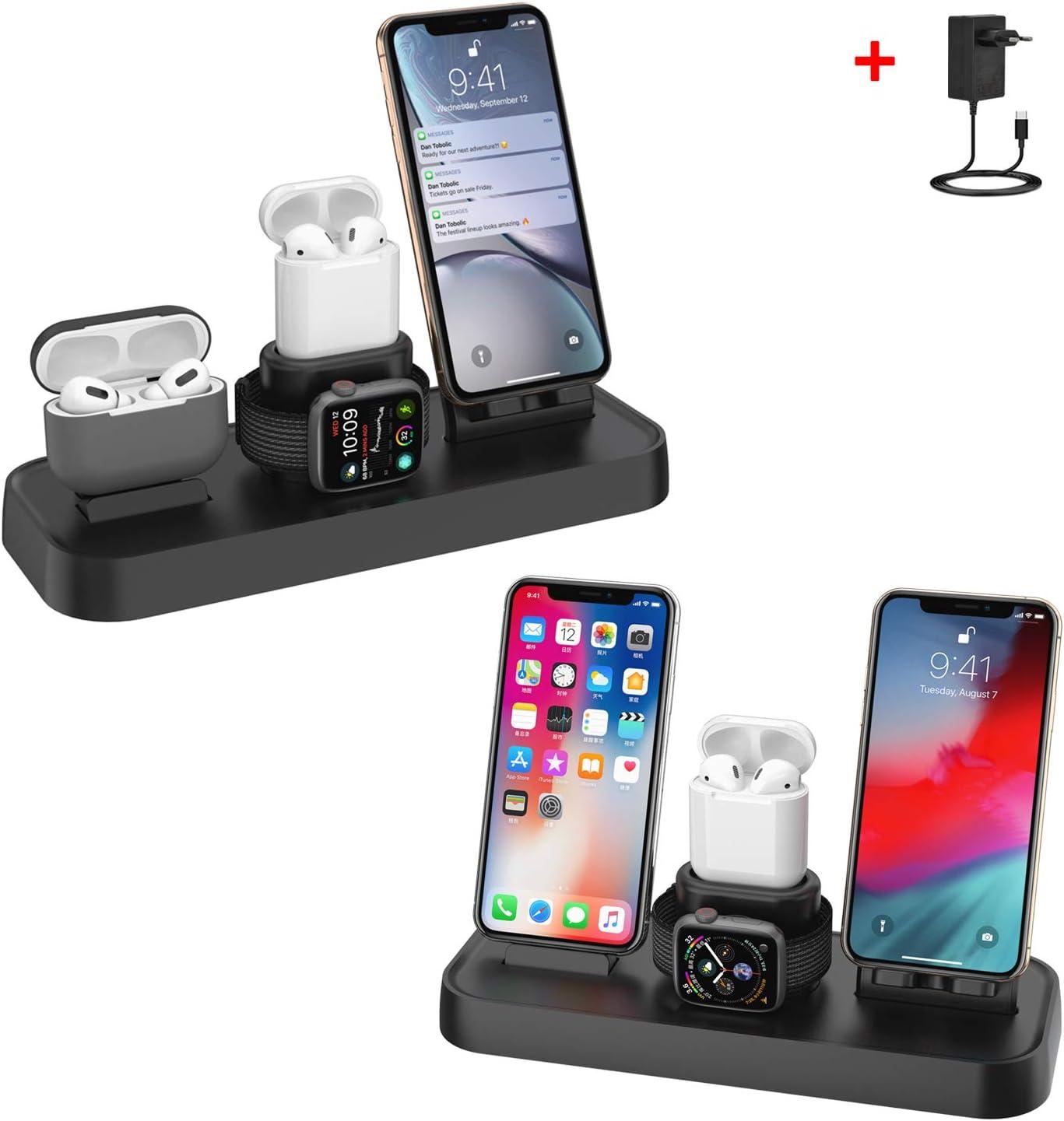 Soporte de Carga para Apple Watch, Estación de Carga Rápida Qi Inalámbrica 4 en 1 Soportes de Carga de para Phone X XS MAX 8 Plus y Teléfonos Qi-Enabled AirPods e iWatch Series 4/3/2/1