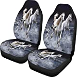 Dellukee 3D Universal Car Seat Covers Horse Print 2pc Front Car Seat Cover Protectors for Most Car Truck SUV Van