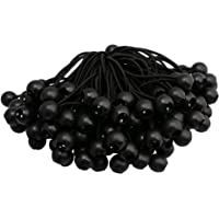 BQLZR 15CM Elastic String Canopy Tarp Tie Down Straps Tent Fix Rope Black Rubber Ball Pack of 100