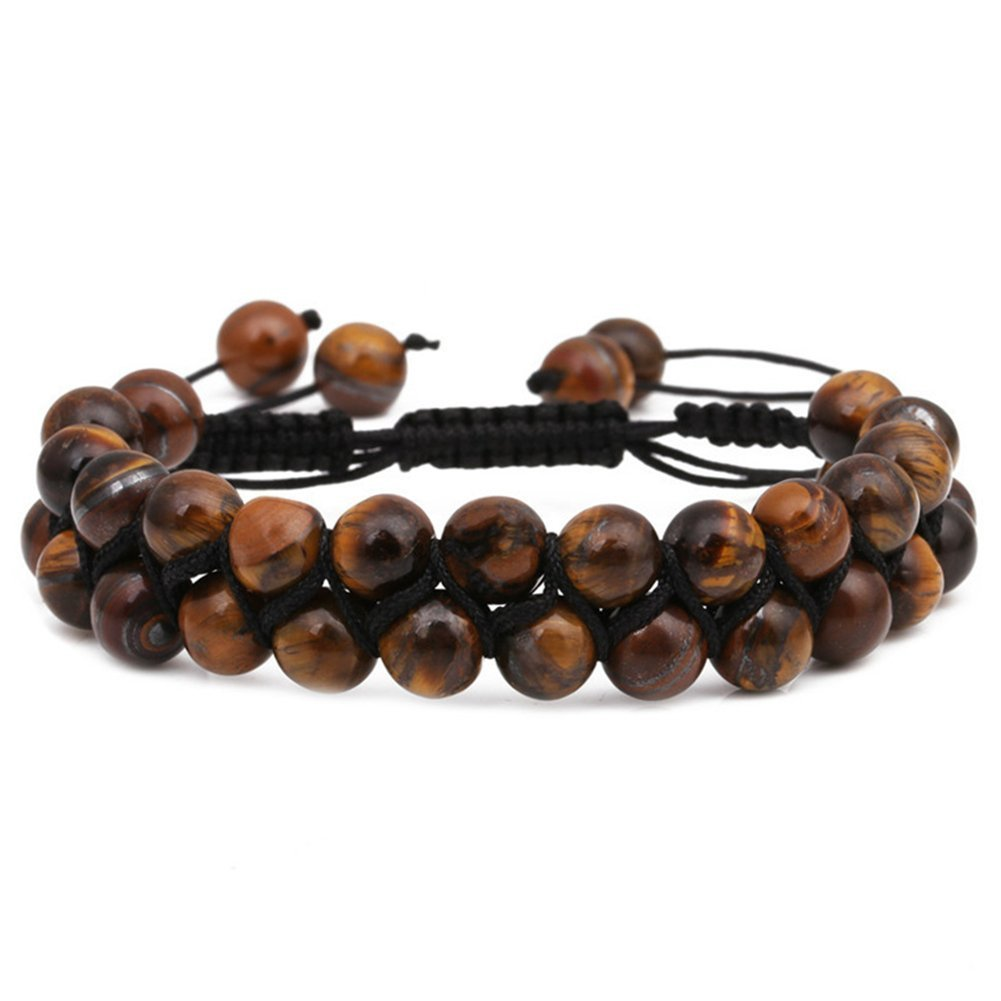 SIVITE Natural Tiger Eye Stone Beads Double Layer Bracelet Mala Meditation Energy Bracelet Adjustable 8MM YML BBEAD-006