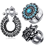 TIANCI FBYJS 3 pairs Ear Gauges Woman Dangling Piercing Tunnels Plug Kit Stretcher (10mm=00g)