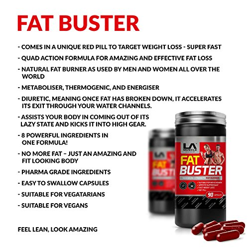 LA Muscle Fat Buster; Amazing Quad-Action Natural & 100% Safe Fat Burner And Weight Loss Supplement For Men and Women; Ultra Fast Acting Rapid Absorbing Works Better Then Garcinia Cambogia