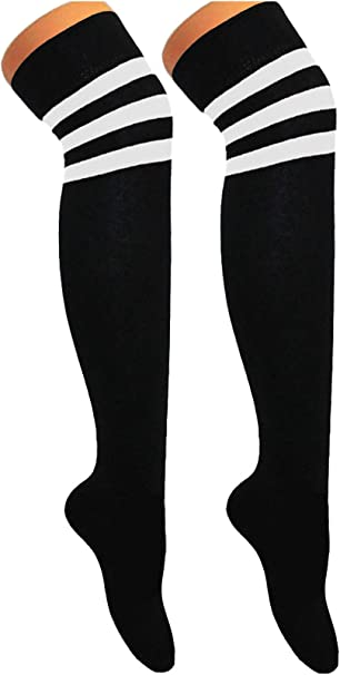 Ladies Over the Knee Socks Thigh Striped Referee Sports Black with White Stripe