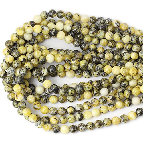 CHEAVIAN 45PCS 8mm Natural Yellow Turquoise Gemstone Round Loose Beads Stone Beads for Jewelry Making DIY Materials 1 Strand 15""