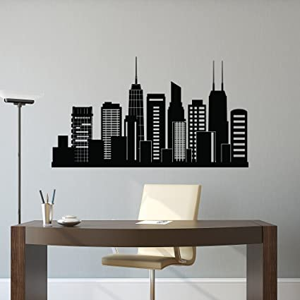 Chicago Skyline Wall Decal City Silhouette- Chicago Illinois Skyline Decal Office Business College Dorm Living & Chicago Skyline Wall Decal City Silhouette- Chicago Illinois Skyline ...