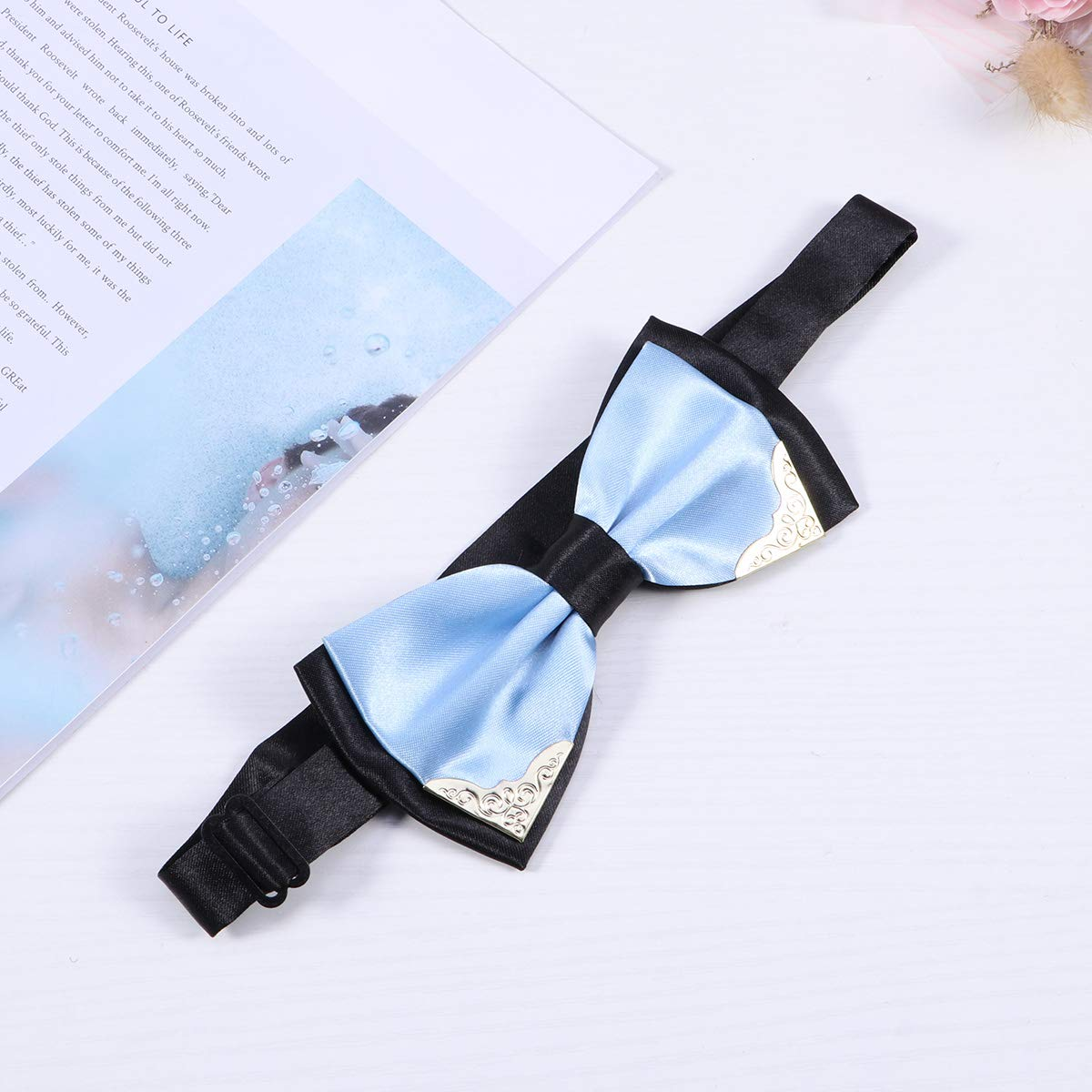 Sky Blue Men Fashion Classical Dress Double Golden Metal Edge Bow Tie Two-Layer Bowtie