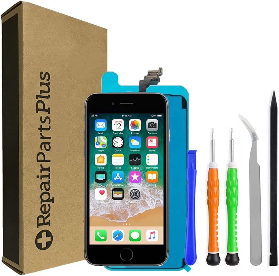 RepairPartsPlus for iPhone 6 Screen Replacement LCD (4.7-inch Display, A1549 | A1586 | A1589) Premium Kit + Camera + Home Button + Adhesive - Black