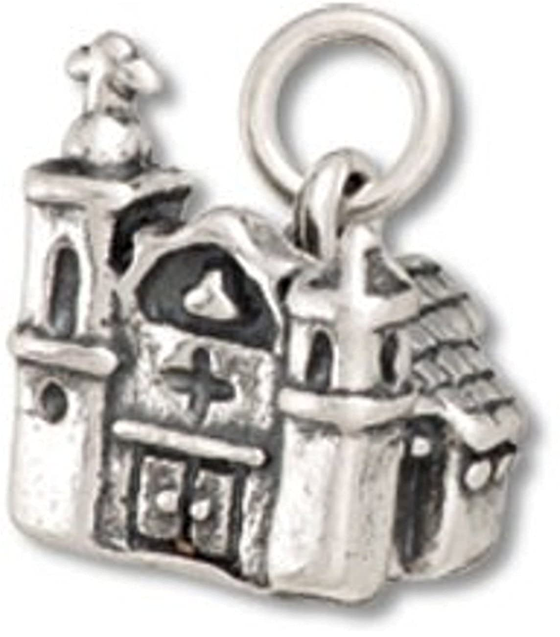 Sterling Silver Womens 1mm Box Chain 3D Mission Style Adobe Church Pendant Necklace