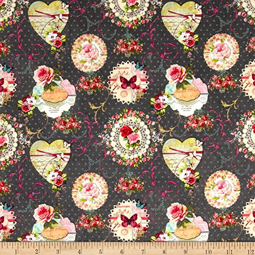 Stof Fabrics of France 0545929 Mia Tle Provence Et Noir Fabric by The Yard, Rose