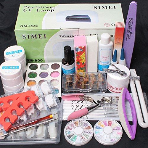 ReNext 25 in 1 Combo Set Professional DIY UV Gel Nail Art Kit 9W Lamp Dryer Brush Buffer Tool Nail Tips Glue Acrylic Set #30