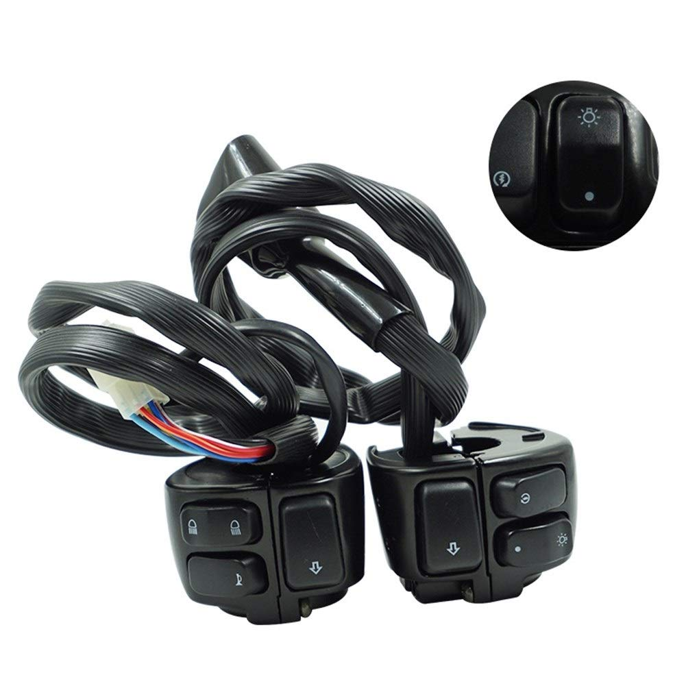 EODUDO-S Left and Right Motorcycle Handlebar Control Switch with Wiring Harness for Harley(1'' 25mm Black) Motorcycle & Powersports (Color : A)
