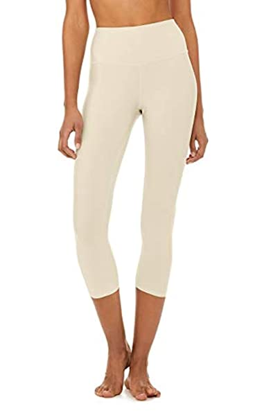 Alo Yoga Womens High-Waist Airlift Capri Sandstone M ...