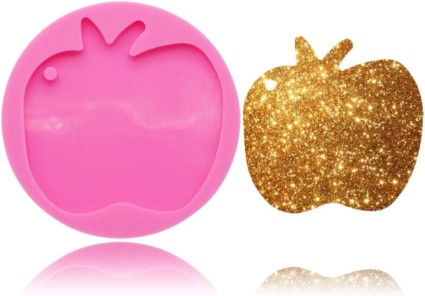 Apple Fruit Tag Keychain Silicone Mold with Hole for DIY Handmade Ice Cream Ice Cube Candy Pudding Desserts Gum Paste Soap Mould Crystal Fondant Mold Cupcake Cake Topper Decoration Jelly Shots