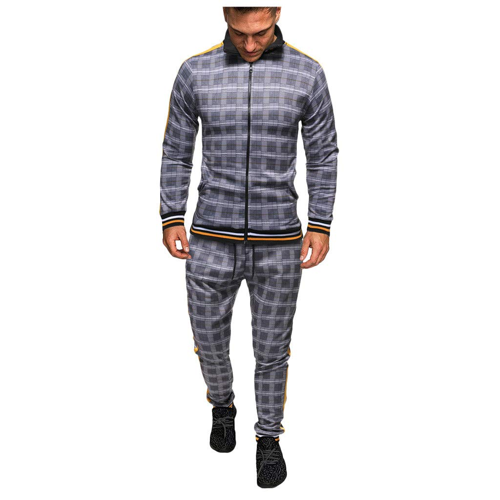 Mens Track Suits 2 Piece Outfits Long Sleeve Full-Zip Sweatshirt Jackets Windbreaker Plaid Side Stripe Slim Fit Joggers Pants Set Stretchy Casual Workout Sweat Suits Activewear by Armfre Two-Piece-Outfit