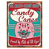 Cheap Wood-Framed Saint Nicks Candy Shop Metal Sign, Red and White Stripped Candy Canes, Christ… on reclaimed, rustic wood