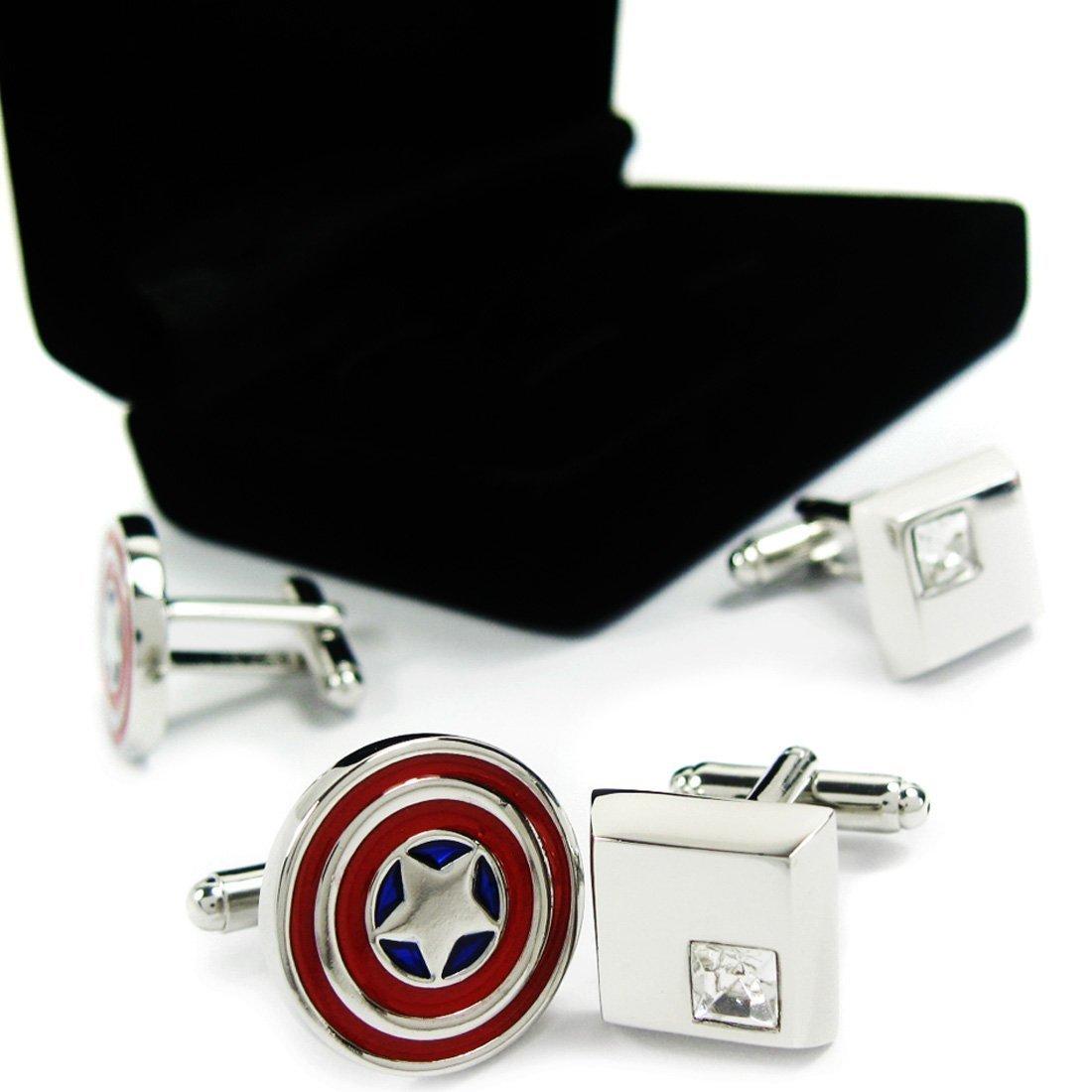 kilofly Cufflinks Combo [Set of 2 pairs] - Captain America, with Velvet Gift Box