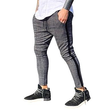 release date best wholesaler get online Pantalon de Sport Décontracté pour Homme à Carreaux Coupe Slim Pantalons de  Jogging