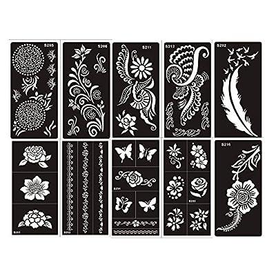 10 Hojas Plantillas de Mehndi Set G tatuaje Stencils autoadhesivo - desechable plantillas tatuajes