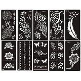 Mehandi Schablonen 10 Sheets Set G Henna Designs zur einmaligen Verwendung für Körper auch für Glitter Tattoo und Air Brush Tattoo geeignet