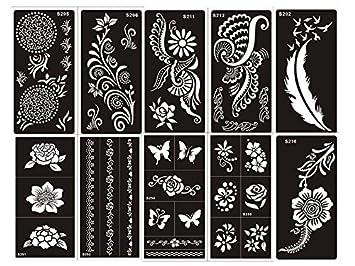 Henna Stencils Template Tattoo Self Adhesive Set G 10 Sheets Single