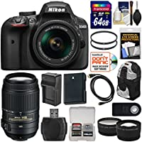 Nikon D3400 Digital SLR Camera & 18-55mm VR DX AF-P Zoom (Black) with 55-300mm VR Lens + 64GB Card + Backpack + Battery & Charger + Tele/Wide Lens Kit