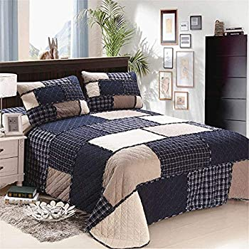 Image of ABREEZE 3pcs Checks Printed Quilt Comforter Bedspread Set Checkered Plaid Grid Quilt Men's Bedding Set Patchwork Reversible Coverlet Queen Size Home and Kitchen