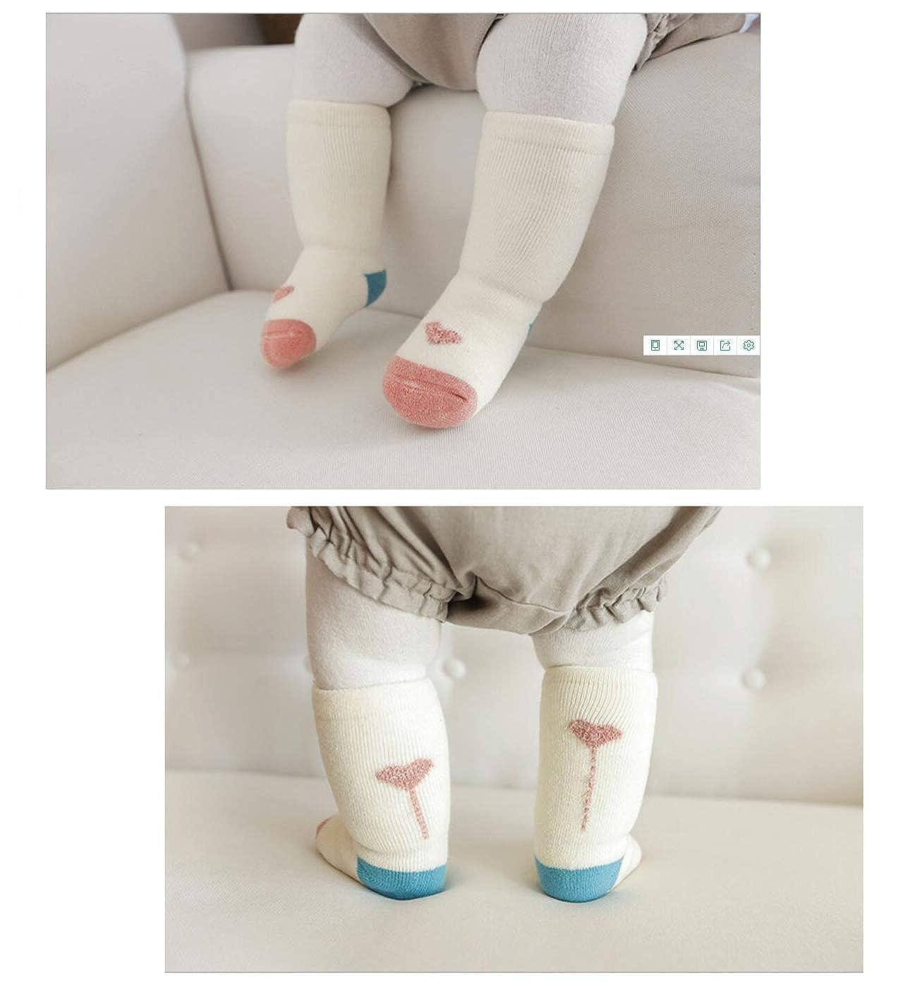 DEBAIJIA 3 Pair Set Baby Thick Socks Boys Girls Stockings Long Knee High Socks Anti-slip Coton Socks for 0-5 Years Newborn Kids Toddler Warm Fluffy Confortable Winter Autum Socks