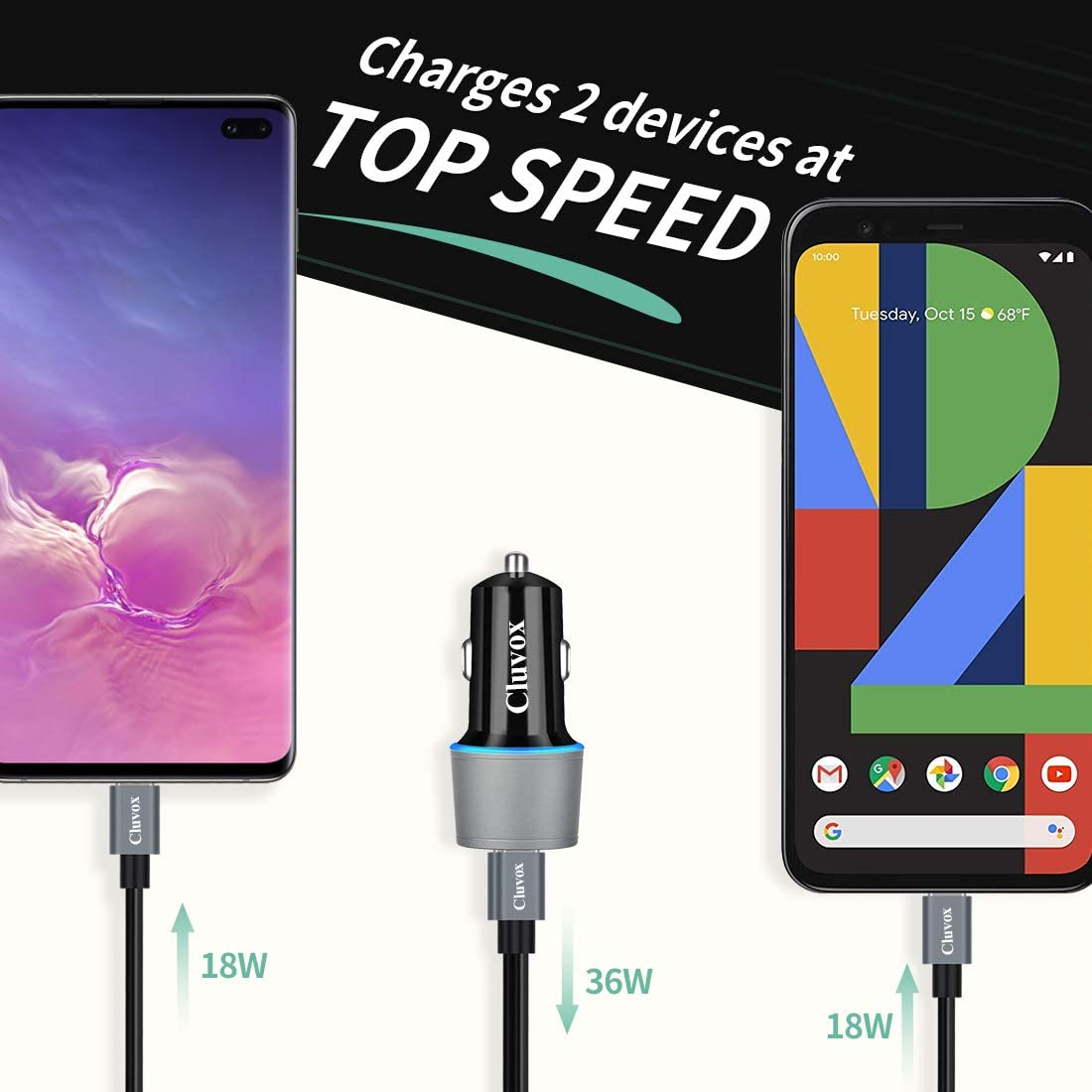 Cluvox Rapid Type C Car Charger Compatible Google Pixel 4 XL//3a XL//3a//3 XL//3//2 XL Samsung Galaxy S20 Plus//Ultra//Note 10//S10E//S10 Plus 18W Dual USB Fast Charging Car Adapter with 2-Pack Type C Cords