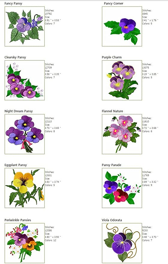 FLOWERS 3 DESIGNS MACHINE EMBROIDERY DESIGNS ON CD OR USB