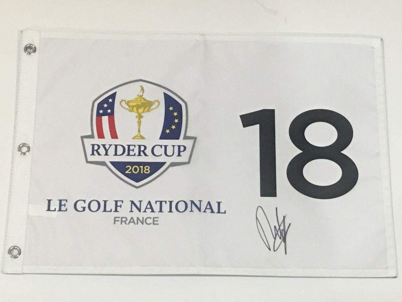 Francesco Molinari Signed 2018 Ryder Cup Flag British Open Europe Proof Italy Autographed Pin Flags