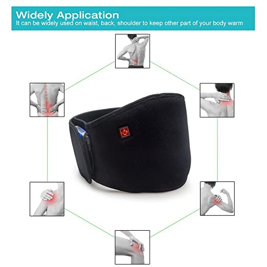 Arris - Cinturón de calefacción / parte inferior de la espalda para terapia de calor / cinturón con calefacción / 7,4 V batería recargable para alivio del ...