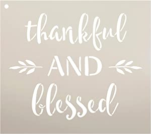 "Thankful and Blessed Stencil by StudioR12 | Reusable Mylar Template | Use to Paint Wood Signs - Pallets - DIY Fall & Thanksgiving Decor - Select Size (9"" x 8"")"