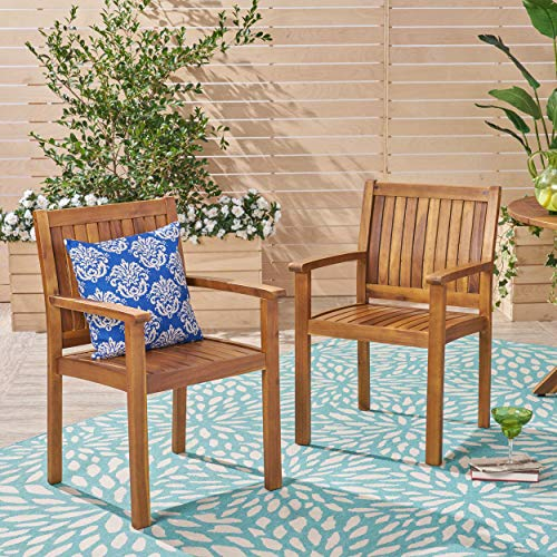 Christopher Knight Home Teague Outdoor Acacia Wood Dining Chairs (Set of 2), Teak Finish