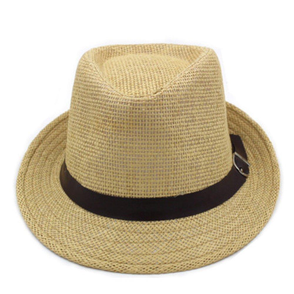 AOBRITON Fashion Men Women Summer Casual Adult Beach Straw Cap Panama Sun Hat Vacation