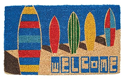 "Puerta alfombrillas – Surfs Up alfombrilla de fibra de coco Welcome – 18 ""x"