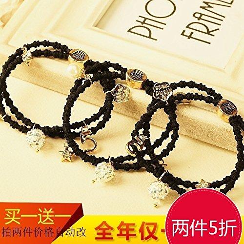 (Generic High elastic hair ring pendant aqueous metal drill crown tiara hair rope lash black hair rubber band Korean hair jewelry)