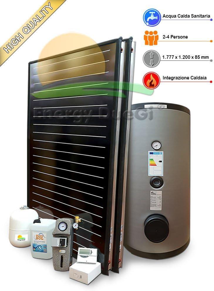Kit Sistema Solar Térmico de alto rendimiento para producción Agua Caliente Sanitaria, 2–4personas, Tetera 300L, fkf200