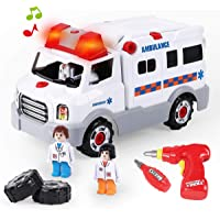 REMOKING STEM Learning Take Apart Toy, Build Your Own Car Toy Ambulance Educational Playset with Tools and Power Drill…