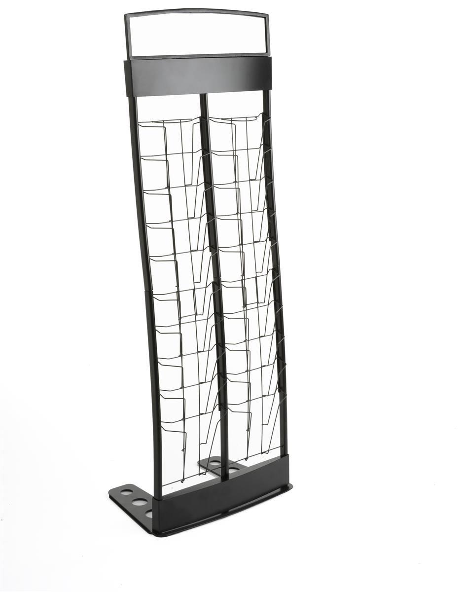 Displays2go Portable Magazine Stand, 20 Literature Pocket Holders (TENNVT2BK)