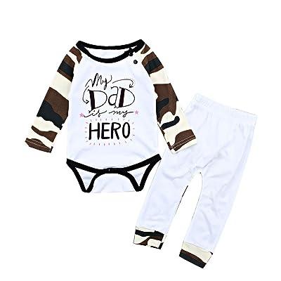 af36d2674c56 Borlai Infant Baby Boy Girl Letters Long Sleeve Romper+Pants Camouflage Outfits  Set