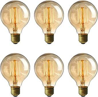 LEDMOMO LED Edison Bulbs, 6pcs E27 Vintage Bulbs 40W 220V G80 Light Bulbs for Chandeliers Sconces Light