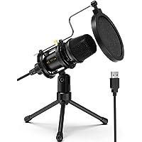 Micrófono USB,Micrófono condensador de PC para videojuegos con soporte de trípode y filtro pop para Streaming,Podcasting…