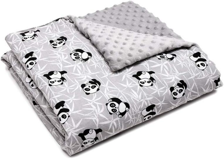 Manta para bebé, forro polar, manta para gatear para bebés y niños, 100% algodón, fabricada en Europa gris Pandas.